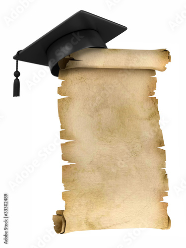 Graduation Cap on the top of old parchment