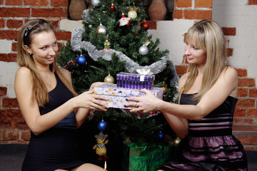 beautiful girls make a present