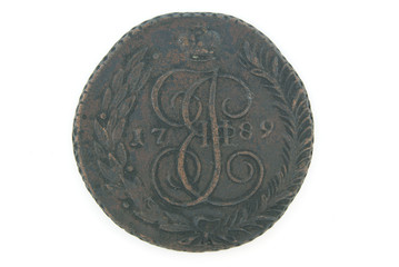 A copper Russian coin of 18 century (5 kopek)
