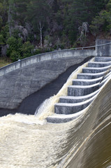 Floodwater cascading over spillway. Launceston, Tasmania