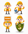 cartoon worker icon set,vector