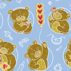 Seamless Pattern With Teddy Bears.
