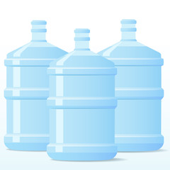 Three bottles of water