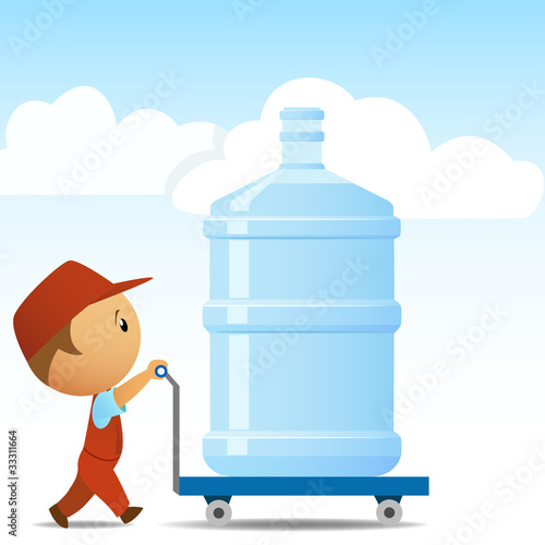 Delivery man with big bottle of water on background