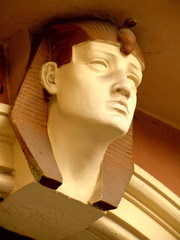 Art nouveau architecture - sculpture of pharaoh as decoration
