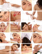 A collage of images with portraits of women on spa procedures
