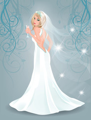 Beautiful bride with champagne, vector illustration