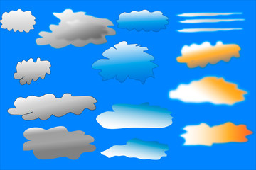 Clouds collection against blue sky. Vector illustration.