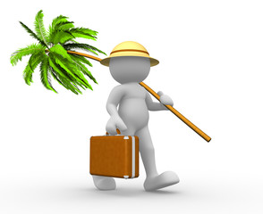 Briefcase and palm- tree