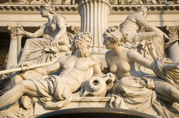 Vienna - detail from Pallas Athena fountain in morning light