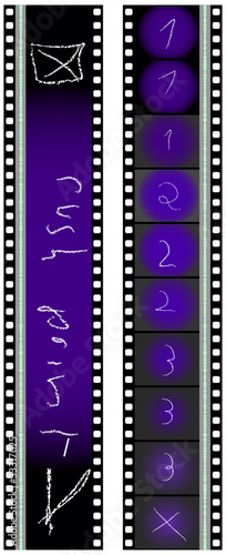 35 mm movie filmstrip with markings, vector