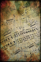 Musical score with texture vintage