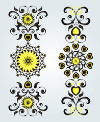 vertical ornament with flower