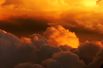 golden clouds on fire