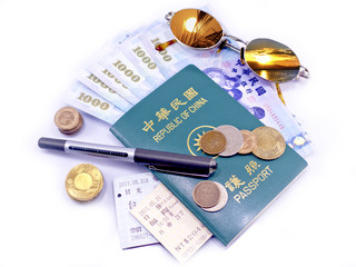 travel plan with money and passport