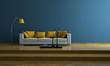 Wohndesign - weisses Sofa mit orangene Kissen