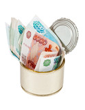 Russian roubles  bills  in  tin can over white background poster