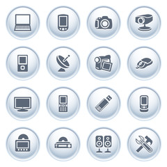 Electronics icons on buttons.