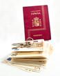 Spanish Passport, keys, money