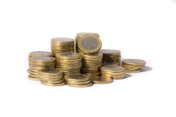 monedas aisladas en fondo blanco