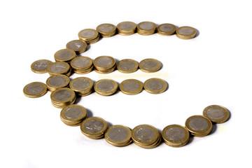 simbolo del euro con monedas aislado con fondo blanco