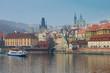 Prague Vltava river panorama, Czech Republic