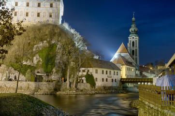 Night Cesky Krumlov Castle View, Czech Republic