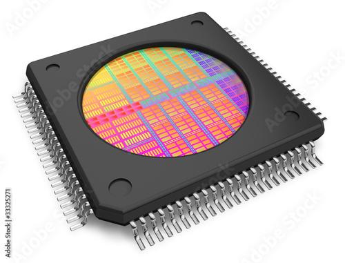 Leinwanddruck Bild Microchip with visible die