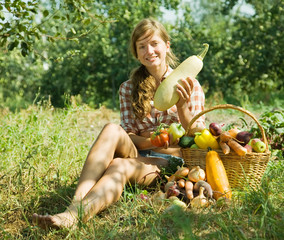 girl with harvested vegetables
