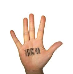Hand mit Barcode
