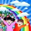 Bambini Felici con Arcobaleno-Happy Children and Rainbow-Vector