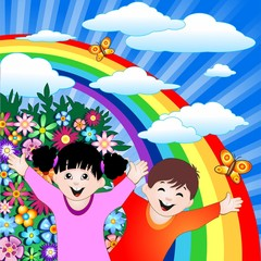 Bambini Felici con Arcobaleno-Happy Children and Rainbow-Vector