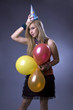 Attractive girl with ballons.