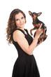 beautiful  girl holding small cute dog