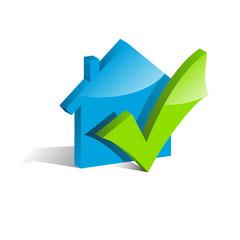 Logo glossy check house # Vector