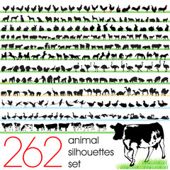 262 animals silhouettes set
