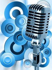 Vintage microphone on a blue abstract background