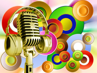 Vintage microphone on a abstract background