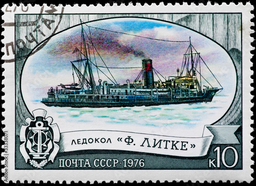 "Postal stamp. Ice breaker ""F. Litke"", 1976."