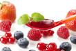 Rote Grütze Obstdessert auf einem Löffel