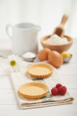 ingredients to make a raspberry cake