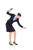 businesswoman smashing her phone