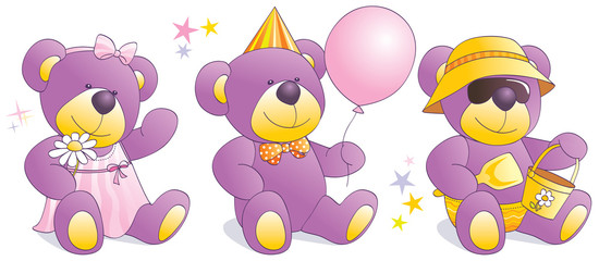 Funny Teddy bears - party, beach, romantic. Illustration