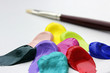 acrylfarben pastos mit pinsel