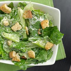 Caesar salad top down view