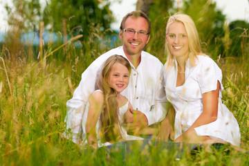 Glückliche Familie sitzt auf Wiese