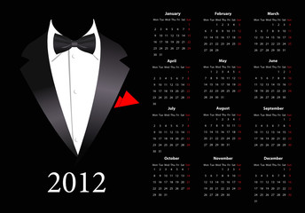 Vector European calendar 2012 with elegant suit