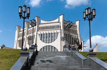 Nice summer day Belarus Grodno cityscape the  famouse theater on