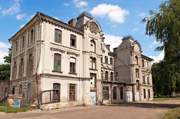 Nice summer day Belarus Grodno old time dilapidated synagogue