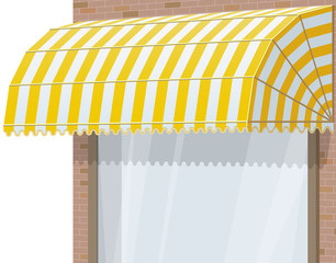 Shop Storefront. Exterior windows with yellow awning.